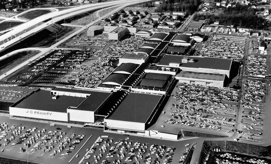 Northgate Mall, 1965. Note the new Interstate 5 on the left. Photo: Seattlepi.com File