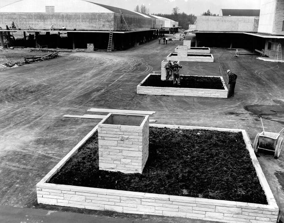 Construction of Northgate Mall, April 1950. The building at left is now the site of Nordstrom. Photo: Seattlepi.com File