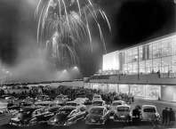Fireworks for the opening weekend of the Bon Marche at Northgate Mall, April 30, 1950. Macy's is now where the Bon Marche was.