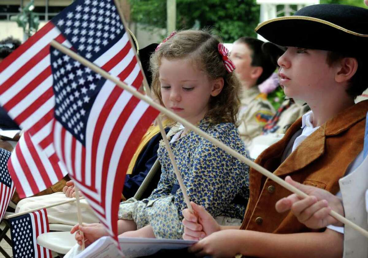 Children of the American Revolution Violet McCann-Anthony, 5, and her brother James, 8, at the Fourth of July Ceremony at Greenwich Town Hall on Monday July 4, 2011.
