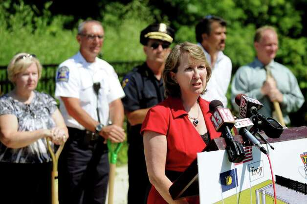 Kathy Jimino, Rensselaer County Supervisor, speaks during a ground breaking for a city 9/11 Memorial on Tuesday, July 5, 2011, in Troy, N.Y. (Cindy Schultz / Times Union) Photo: Cindy Schultz