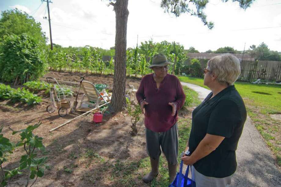 Tommy Loubon of Alief, who will assist with the Alief Community Garden, is shown with Barbara Quattro in his garden.  Photo by R. Clayton McKee Photo: R. Clayton McKee, Freelance / © R. Clayton McKee