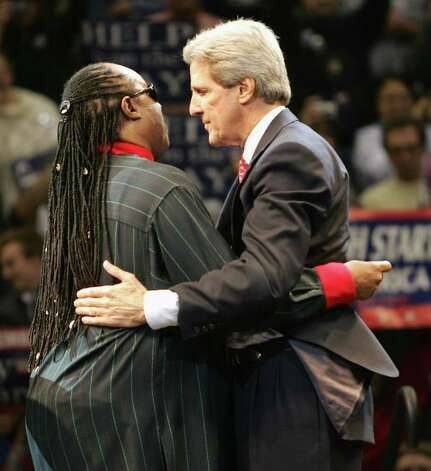 Kerry hugs Stevie Wonder at a rally on November 1, 2004 in Detroit. Photo: Spencer Platt, Getty Images / 2004 Getty Images