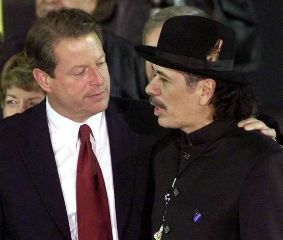 Gore had a long list of actual musical backers, including Carlos Santana, seen here with Gore during a campaign stop in Las Cruces, New Mexico, on November 2, 2000, ... Photo: TIMOTHY CLARY, AFP/Getty Images / AFP
