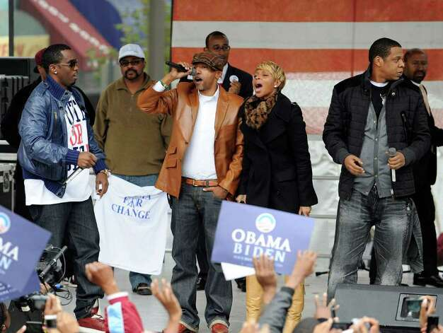 "Obama is a well-known fan of the rapper Jay-Z (right), and Jay returned the love with Sean ""Diddy"" Combs (left) and Mary J. Blige at this rally on November 3, 2008 in Philadelphia. Photo: Jeff Fusco, Getty Images / 2008 Getty Images"