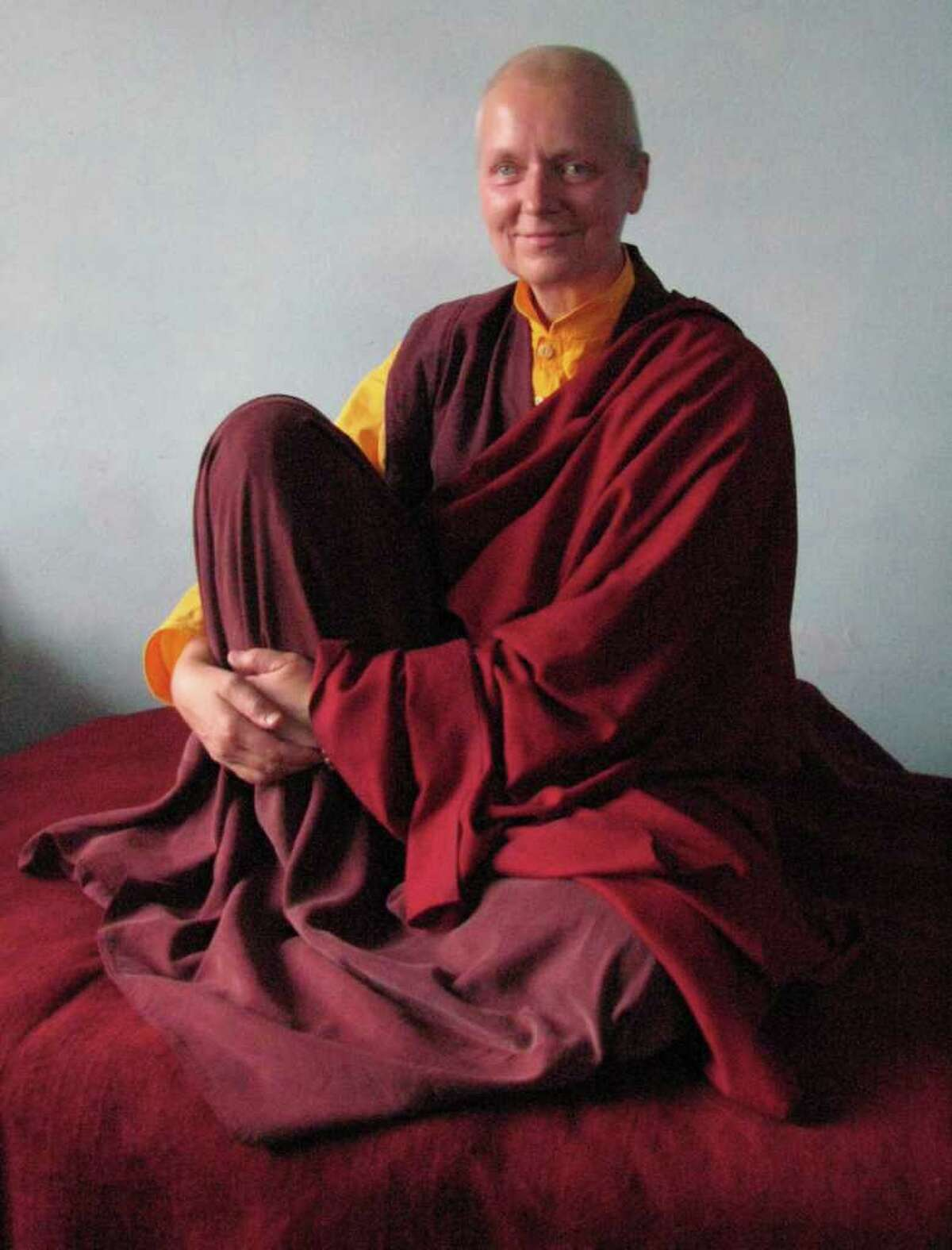Greenwich native Kaz Flanagan is a fully ordained Buddhist nun. Currently living in India, Flanagan is hoping to translate a Buddhist practice, called the The Troma Nagmo Practice of Chöd, into English.