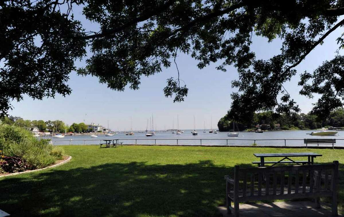 A view of Greenwich Harbor from under a shade tree at Grass Island, Tuesday, July 7, 2011. The same group that planned the Sept. 11 memorial on Great Captains Island is planning a second memorial at Grass Island, which they say would be more accessible to residents and nonresidents alike and not be reliant on ferry service. The group is led by former Greenwich Chamber of Commerce Chief Executive Mary Ann Morrison and local architect Chuck Hilton.