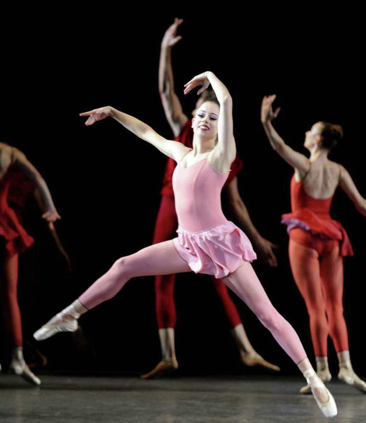 """Members of the New York City Ballet perform the Peter Martins piece """"Fearful,Symmetries"""" to open their season at SPAC in Saratga Springs, NY Tuesday July 5, 2011. ( Michael P. Farrell/Times Union )"""
