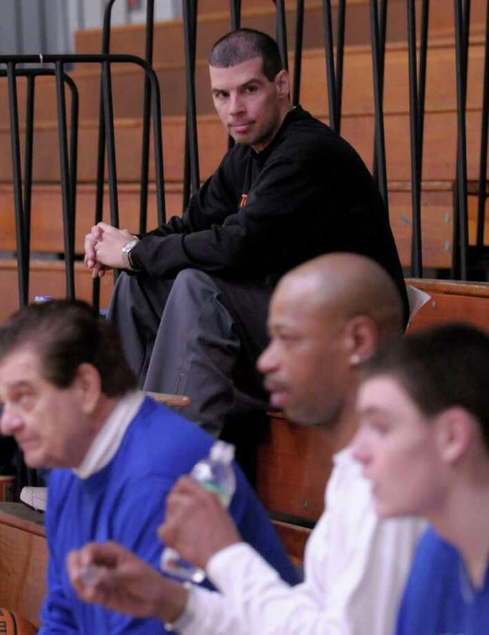 Bishop Maginn's Head Coach Rich Hurley  during a intra-squad scrimmage Saturday morning March 22, 2008 at Bishop Maginn High School in Albany, NY.  Federation Tournament of Champions game Photo: Shannon DeCelle / Albany Times Union