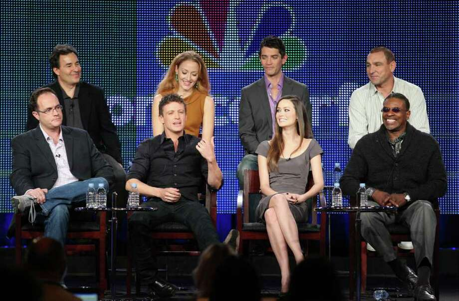 "PASADENA, CA - JANUARY 13:  (L-R) Executive Producer Tom Wheeler, Executive Producer John Wirth, Actor David Lyons, Actress Jennifer Ferrin, Actor James Frain, Actress Summer Glau, Actor Vinnie Jones and actor Keith David speak during ""The Cape"" panel during the NBC Universal portion of the 2011 Winter TCA press tour held at the Langham Hotel on January 13, 2011 in Pasadena, California.  (Photo by Frederick M. Brown/Getty Images) *** Local Caption *** Tom Wheeler;John Wirth;David Lyons;Jennifer Ferrin;James Frain;Summer Glau;Vinnie Jones;Keith David Photo: Frederick M. Brown, Getty Images / 2011 Getty Images"