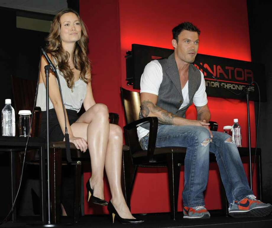 "US science fiction television series ""Terminator: The Sarah Connor Chronicles (Second Season)"" actress Summer Glau (L) and actor Brian Austin Green (R) take part in a press conference in Tokyo on May 28, 2009. Warner Home Video, the home video unit of Warner Bros, will release the television library ""Terminator: The Sarah Connor Chronicles (Second Season)"" on June 10, with two formats Blu-ray and DVD in Japan.  AFP PHOTO / Kazuhiro NOGI Photo: KAZUHIRO NOGI, AFP/Getty Images / 2009 AFP"