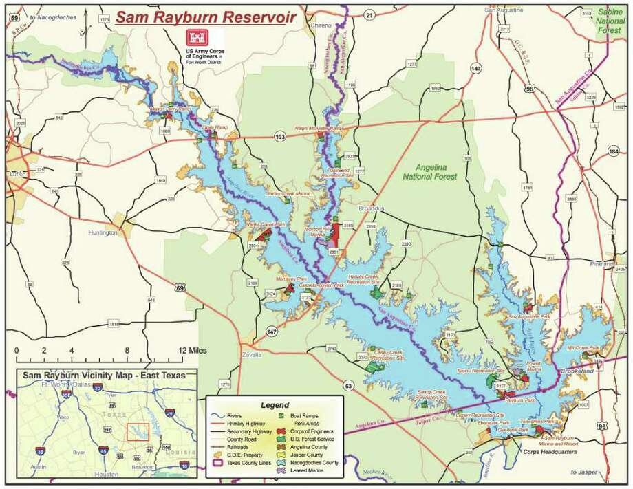 Sam Rayburn Reservoir with marked launches