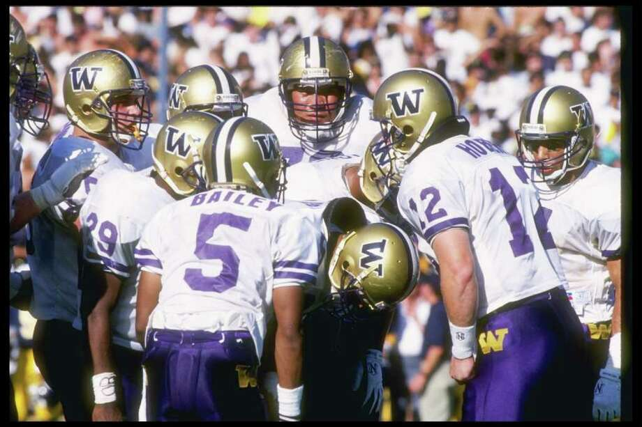 4. 1991 Huskies footballThis was undoubtedly the year of the Dawg. The eventual national-champion Huskies had a perfect 12-0 record, and averaged more than 40 points per game. Throughout the season, close games were generally hard to come by. The only real tests that the star-studded Huskies faced were Nebraska, Cal and USC. Washington's opponents averaged just 9.6 points per game. On both sides of the ball, the UW had stars -- defensive tackle Steve Emtman was named Pac-10 Defensive Player of the Year and became the No. 1 overall pick in the 1992 NFL Draft, while wide receiver Mario Bailey was the conference's Offensive Player of the Year. Don James was named the national Coach of the Year, and the Huskies rolled to a 34-14 victory in the Rose Bowl over Michigan. Photo: Otto Greule Jr, Getty Images / Getty Images North America