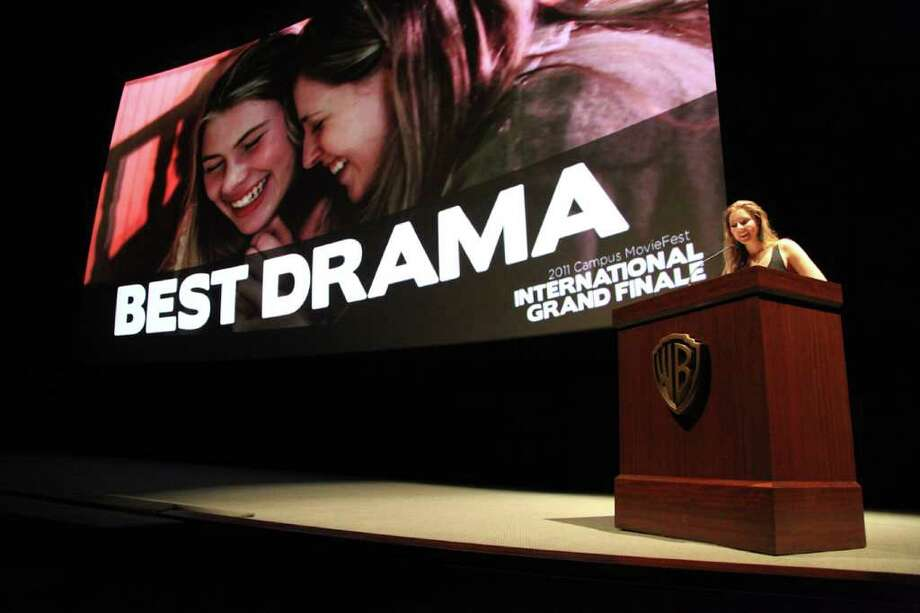 "Greenwich resident Eliza McNitt accepts the ""Best Drama"" award for her short film, ""My Ketchup Smiles"" at the Campus Movie Fest International Grade Finale Awards, which were held recently in Hollywood. Photo: Contributed Photo / Greenwich Citizen"