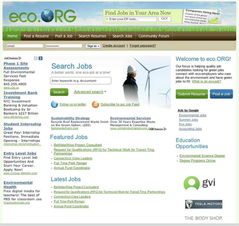 Eco.org, a leading green jobs website, defines a green job as any job in any company where the primary focus is on reducing the impacts of our activities or products on the environment. Photo: Contributed Photo