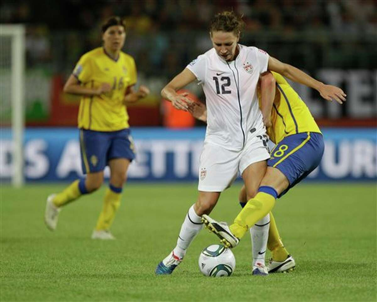 United States' Lauren Cheney in action against Sweden during the group C match between Sweden and the United States at the Women�s Soccer World Cup in Wolfsburg, Germany, Wednesday, July 6, 2011. (AP Photo/Marcio Jose Sanchez)