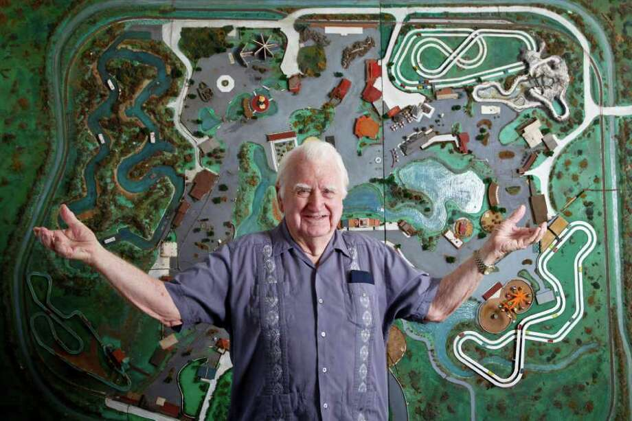Ed Henderson stands in front of his original Astroworld model he created in 1967 at Roy Hoffeinz' request to help promote the new amusement park, Monday, June 27, 2011, in Houston.   Henderson was a former Disney animator and also the creator of Astrodome scoreboard animations.  ( Michael Paulsen / Houston Chronicle ) Photo: Michael Paulsen, Staff / © 2011 Houston Chronicle