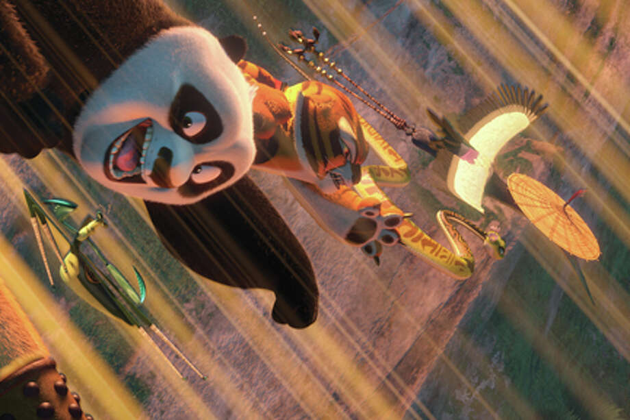 "(L-R) Mantis, Po, Tigress, Viper and Crane in ""Kung Fu Panda 2."""