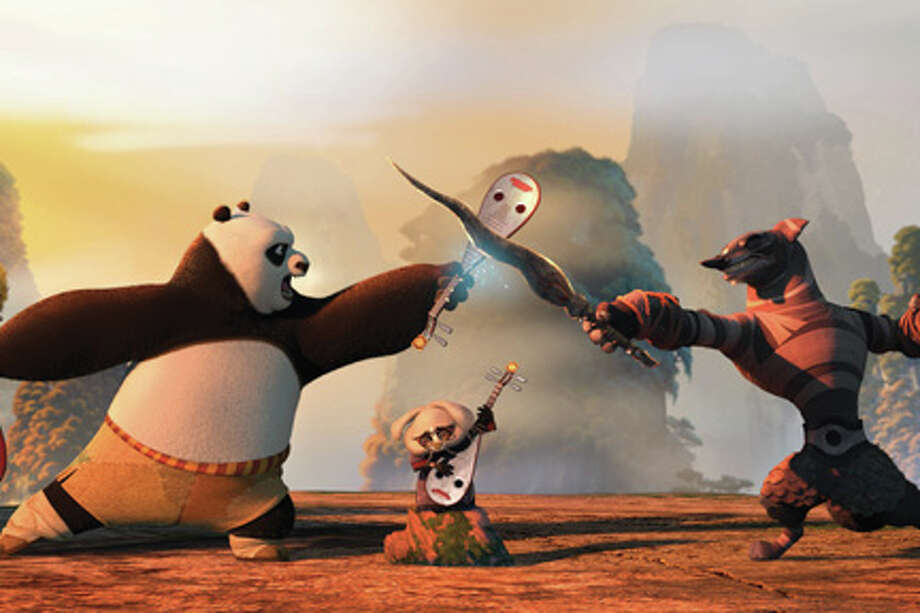 "Po (left) and Wolf Boss (right) in ""Kung Fu Panda 2."""