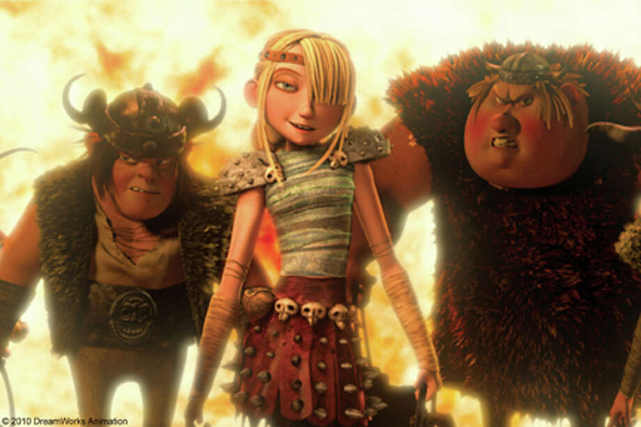 "(L-R) Snotlout, Astrid and Fishlegs in ""How to Train Your Dragon."""