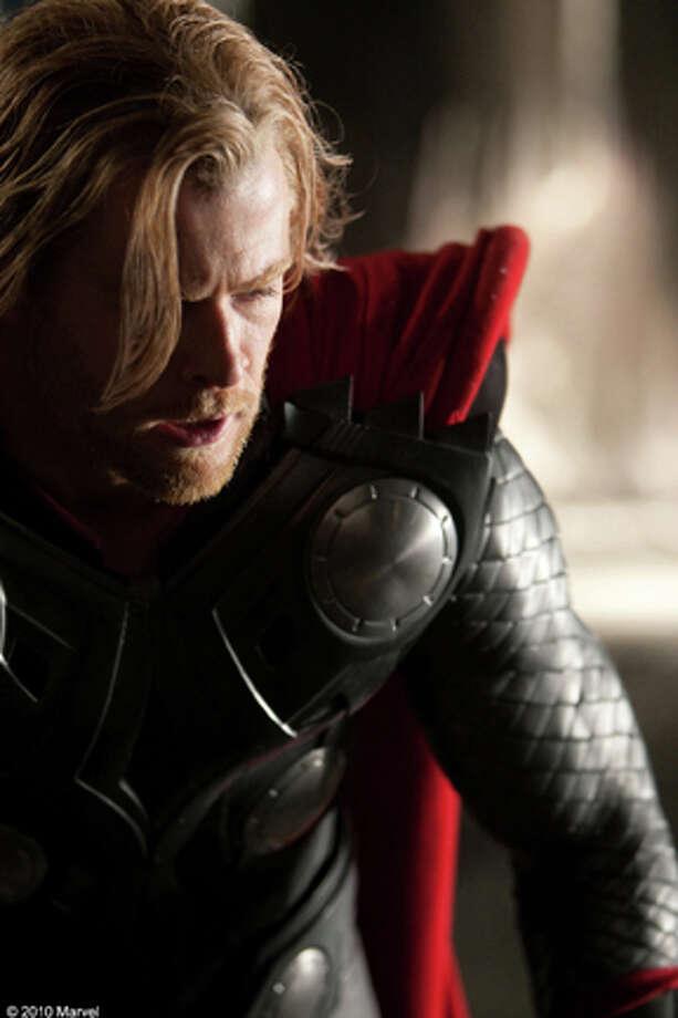"Chris Hemsworth as Thor in ""Thor."" Photo: Photo Credit: Mark Fellman, Mark Fellman / TM & ©2010 Marvel ©2010 MVLFFLLC.  All Rights Reserved."
