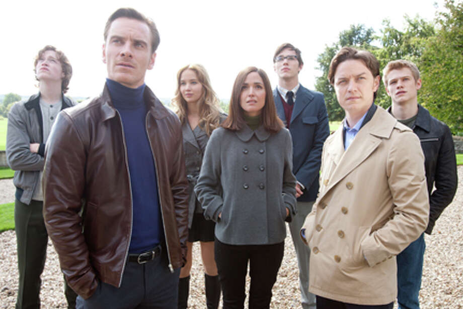 "(L-R) Caleb Landry Jones as Sean Cassidy, Michael Fassbender as Erik Lehnsherr, Jennifer Lawrence as Raven Darkholme, Rose Byrne as Dr. Moira McTaggert, Nicholas Hoult as Hank McCoy, James McAvoy as Professor Charles Xavier and Lucas Till as Alex Summers in ""X-Men: First Class."" Photo: Photo: Murray Close / TM and ©2011 Twentieth Century Fox Film Corporation. All rights reserved. Not for sale or duplication."
