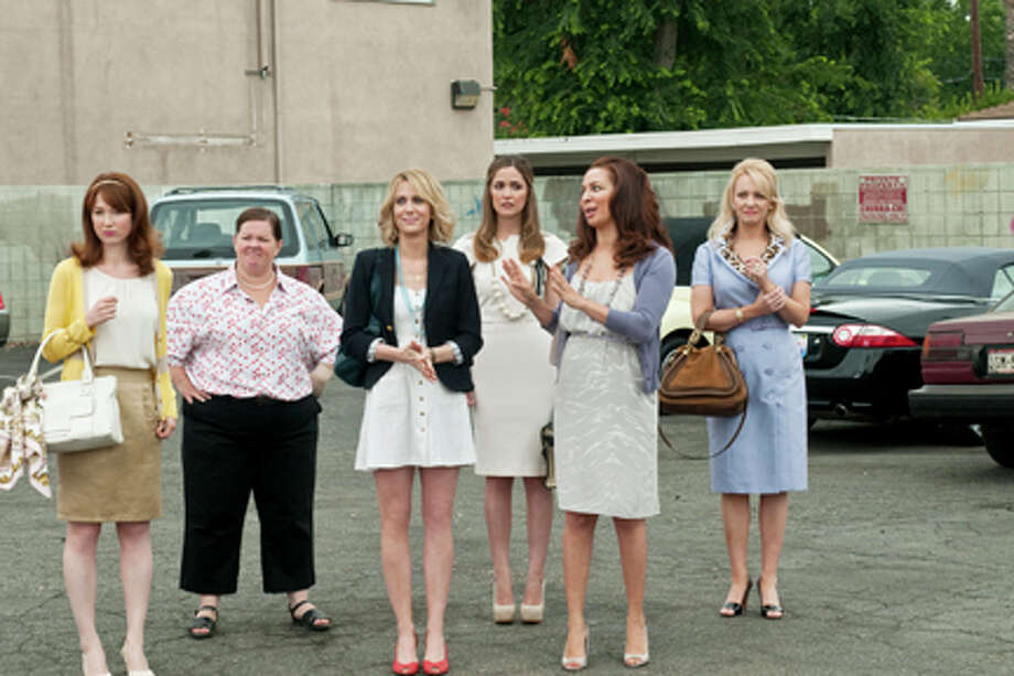 "(L-R) Ellie Kemper as Becca, Melissa McCarthy as Megan, Kristen Wiig as Annie, Rose Byrne as Helen, Maya Rudolph as Lillian and Wendi McLendon-Covey as Rita in ""Bridesmaids."" Photo: Suzy Hanover / 2011 Universal Studios"