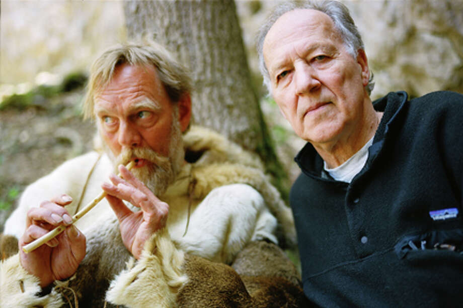 "(L-R) Wulf Hein and Werner Herzog in ""Cave of Forgotten Dreams."""