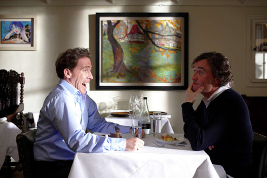 "(L-R) Rob Brydon and Steve Coogan in ""The Trip."""