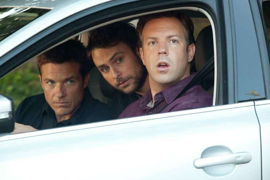 "(L-r) JASON BATEMAN as Nick, CHARLIE DAY as Dale and JASON SUDEIKIS as Kurt in New Line Cinema's comedy ""HORRIBLE BOSSES,"" a Warner Bros. Pictures release. Photo: John P. Johnson, Warner Bros. Pictures / © 2011 New Line Productions Inc."