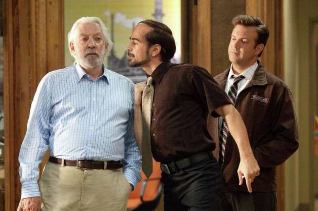 "HB-00571-00613rc (L-r) DONALD SUTHERLAND as Jack Pellit, COLIN FARRELL as Pellit Jr. and JASON SUDEIKIS as Kurt in New Line Cinema's comedy ""HORRIBLE BOSSES,"" a Warner Bros. Pictures release. Photo: John P. Johnson / © 2011 New Line Productions Inc."