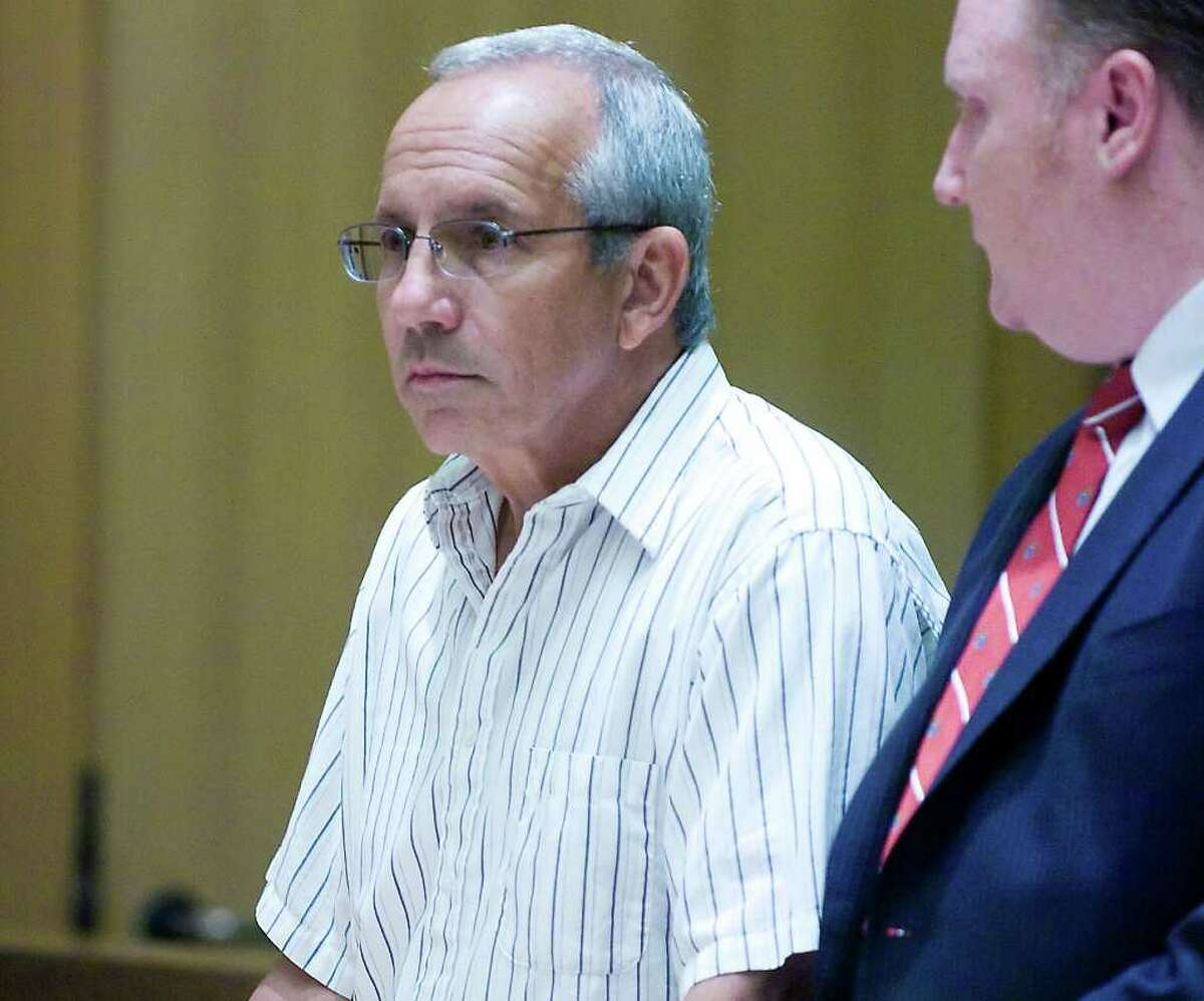 Former city accountant James Santorella is arraigned in State Superior Court in Stamford, Conn. on Wednesday June 16, 2010. Santorella was charged with two counts of first-degree larceny for allegedly stealing $19,000 in city funds.