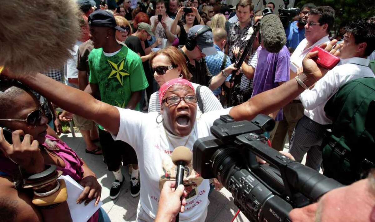 Most people in the crowd outside the Orange County Courthouse in Orlando, Florida, and watching elsewhere appear to have agreed with Cathy Cooper, shown here expressing outrage with the verdict. Here are some other trials of the centuries, starting most recently and going way, way back.