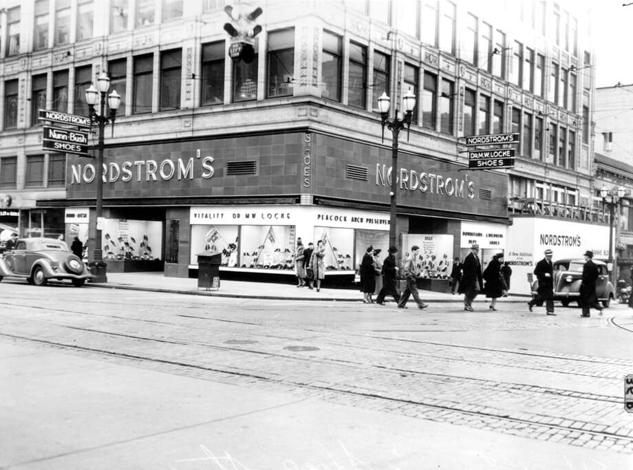 Nordstrom at Fifth Avenue and Pike Street, 1947. Photo: Seattlepi.com File