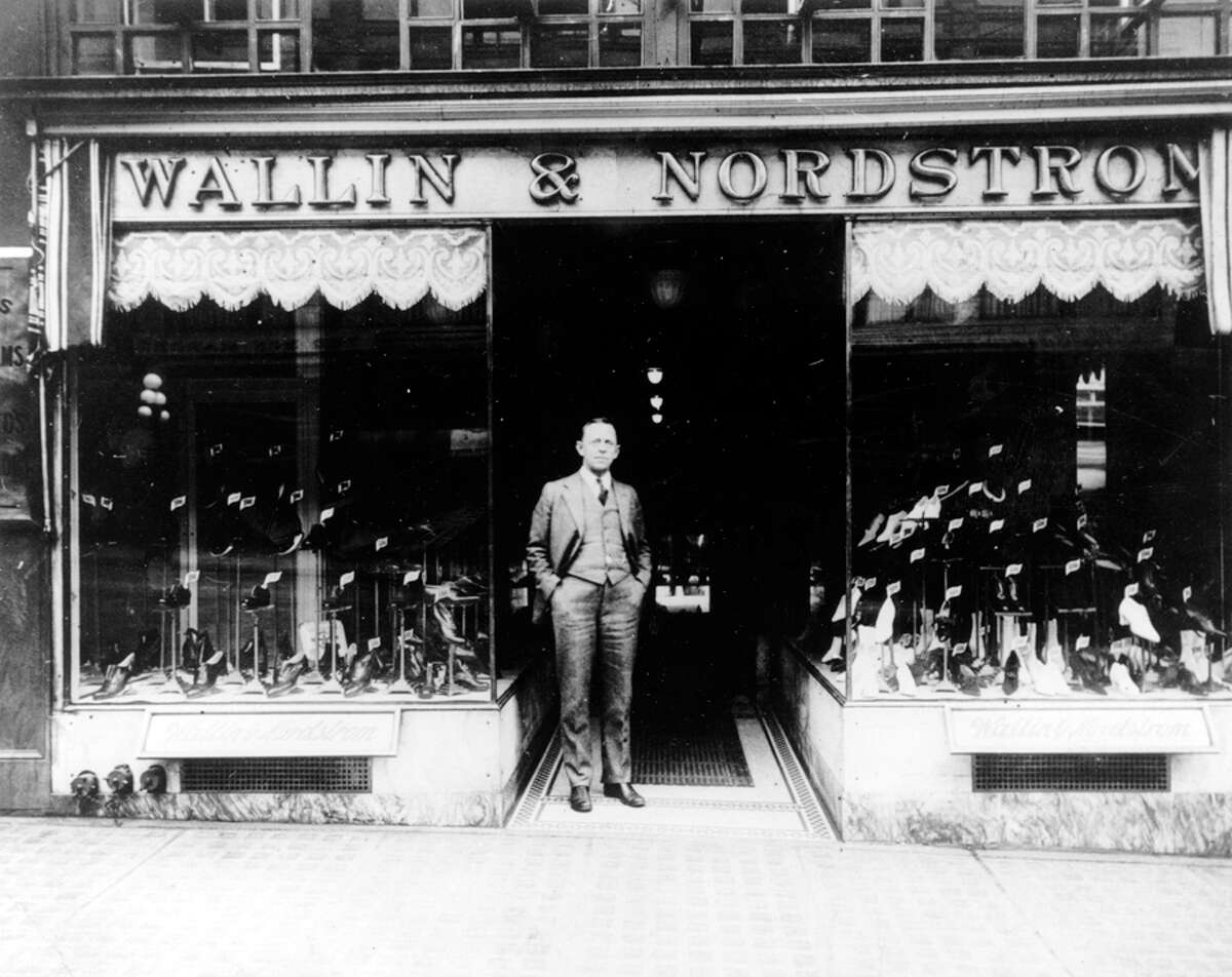 John. W. Nordstrom in front of the Wallin & Nordstrom shoe store in 1915.