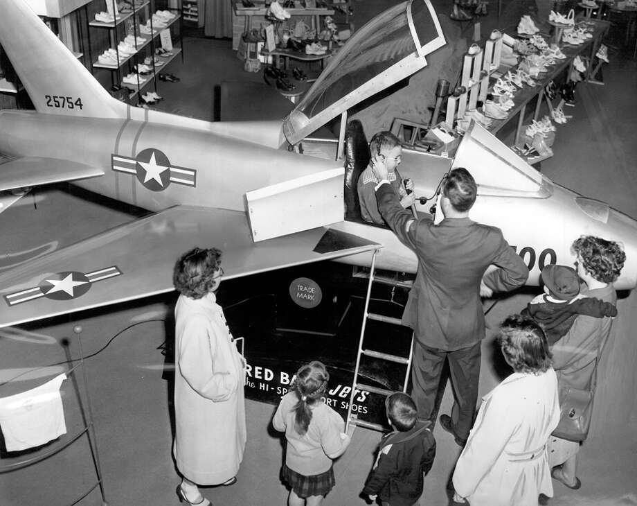 Pilot Marvin Wiswell and John W. Lynch at the Nordstrom at Northgate, May 14, 1954. Photo: Seattlepi.com File