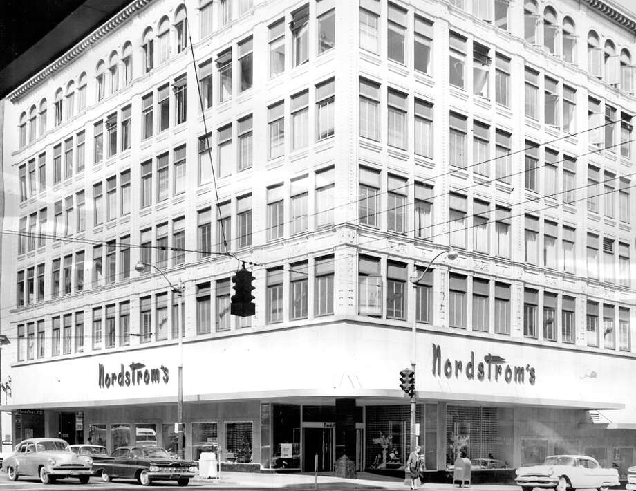 Nordstrom's store at Fifth Avenue and Pike Street, May 19, 1961. A P-I account that year said it was the nation's largest shoe store for size and selection, and offered the biggest range of any shoe store in the world. Photo: Seattlepi.com File