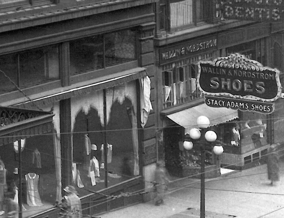 An undated photo of Wallin & Nordstrom shoes at Second and Pike, next to the MacDougal and Southwick store. Photo: Seattlepi.com File