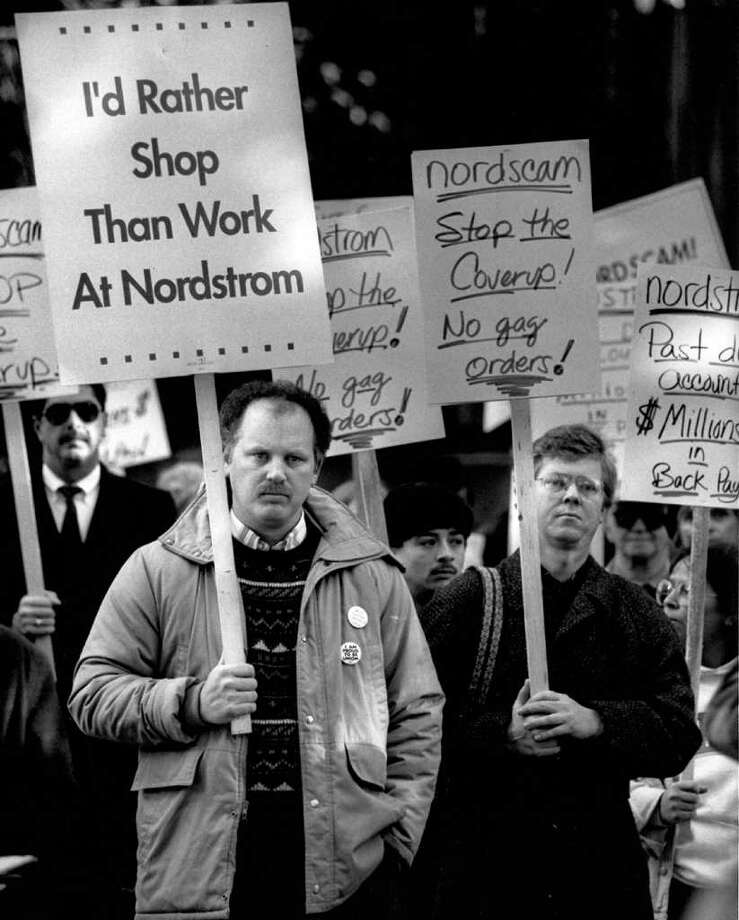 Supporters of UFCW during a labor dispute with Nordstrom, Dec. 1990. There was a protest at Freeway Park and a march to the downtown Seattle store. Photo: Seattlepi.com File