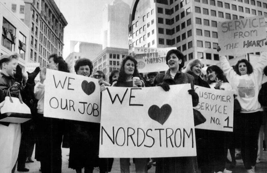 Supporters during a labor dispute with Nordstrom, 1990. Photo: Seattlepi.com File