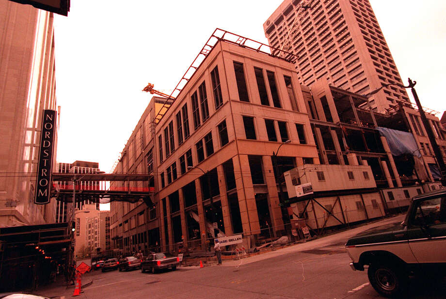 Construction of Pacific Place next to the flagship Nordstrom store, April 7, 1998. Photo: Seattlepi.com File