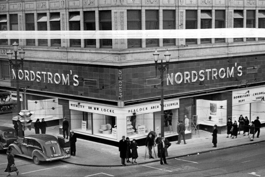 The Nordstrom building at Fifth Avenue and Pike Street, Dec. 1937. At the time, the store had 35,000 pairs of shoes. Photo: Seattlepi.com File