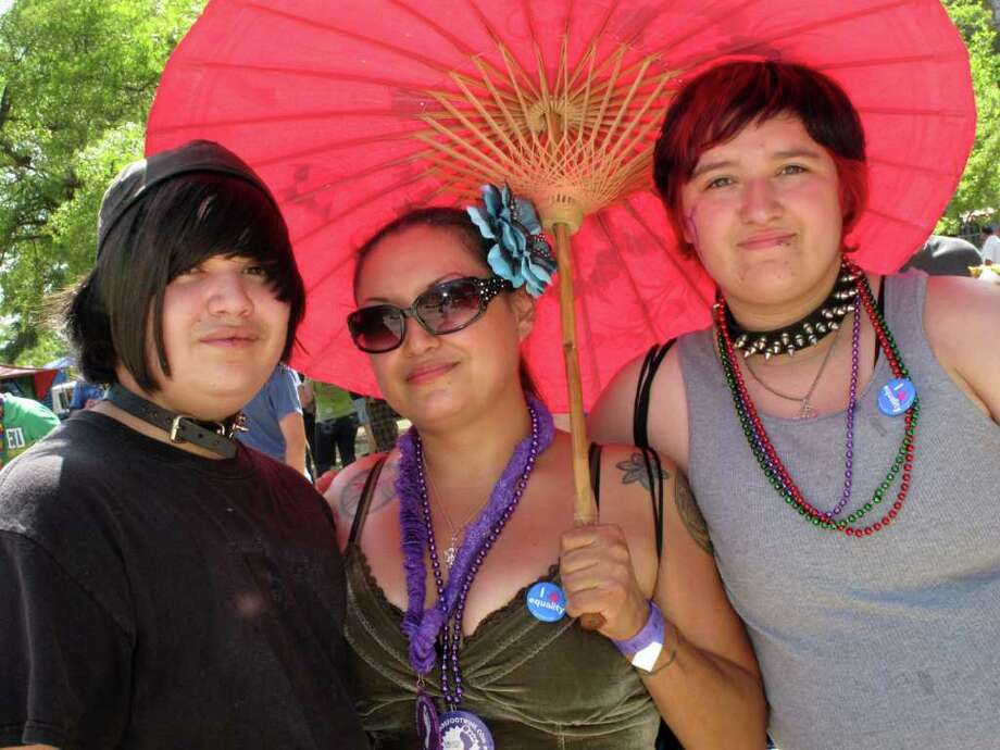 OTS/HEIDBRINK - Lestat Zapata, Maria Zapata (Mom) and Ariel Perdue were at the Gay Pride Day celebration on 7/2/2011 at Crockett Park. names checked photo by leland a. outz Photo: LELAND A. OUTZ, FREELANCER / SAN ANTONIO EXPRESS-NEWS