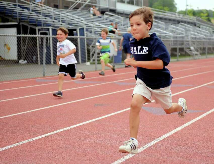 Caleb Smith participates in Thursday's Westport Age Group Track Meet at Staples High School on July 7, 2011.