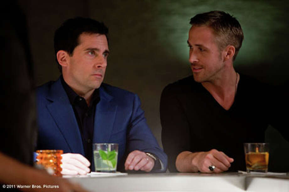"(L-R) Steve Carell as Cal Weaver and Ryan Gosling as Jacob Palmer in ""Crazy Stupid Love."" Photo: Ben Glass / ©2011 Warner Bros. Entertainment Inc."