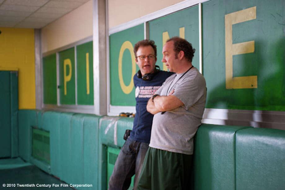 "Director Tom McCarthy and Paul Giamatti on the set of ""Win WIn."""
