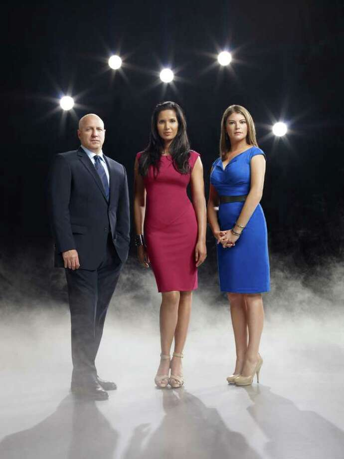 TOP CHEF -- Season:8 -- Pictured: (l-r) Tom Colicchio, Padma Lakshmi, Gail Simmons -- Photo by: Matthias Clamer/Bravo Photo: Matthias Clamer / © Bravo