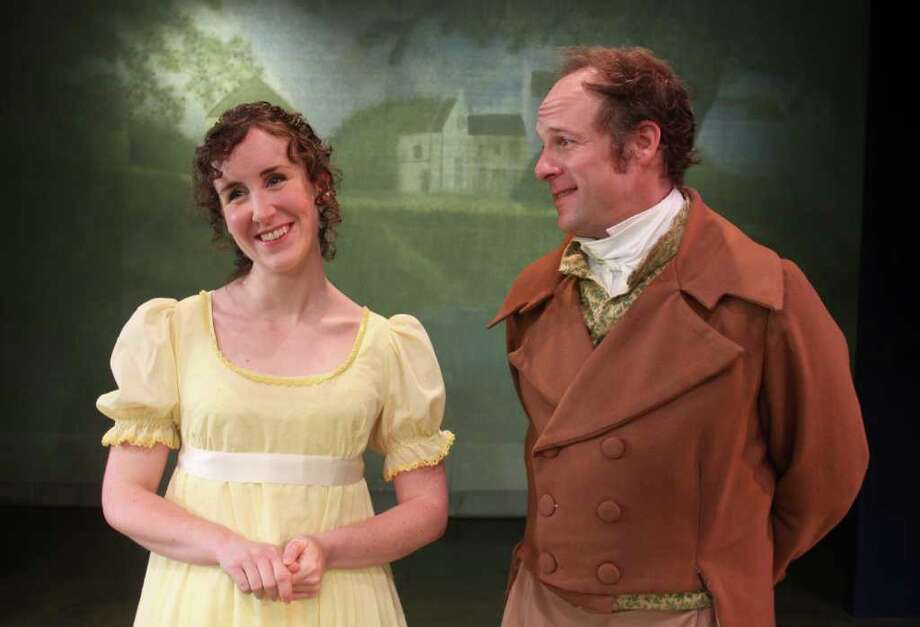 "(For the Chronicle/Gary Fountain, June 28, 2011) Sarah Cooksey as Emma Woodhouse, and Craig Griffin as Mr. Knightly, in this scene from A.D. Players' production of ""Emma,"" Jon Jory's new adaptation of the Jane Austen novel. Photo: Gary Fountain, Freelance / Copyright 2011 Gary Fountain Telephone:  281-531-0260"