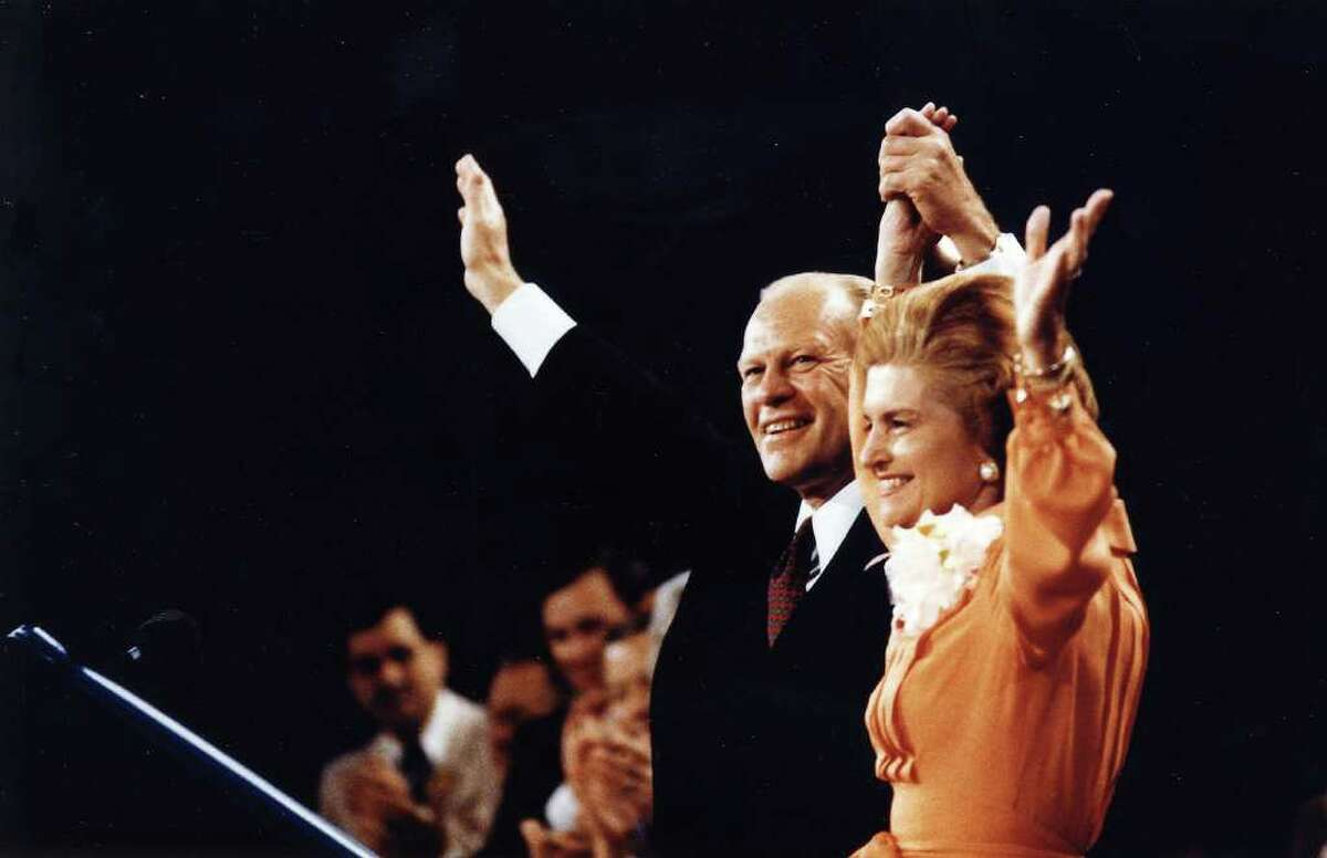 KANSAS CITY, MO - AUGUST 19, 1976: President Ford and Betty Ford wave to the crowd at the Republican National Convention in Kansas City, Missouri August 19, 1976. The former President passed away at his home in California December 26, 2006. He was 93. (Photo by Karl Schumacher/Gerald R. Ford Library via Getty Images)