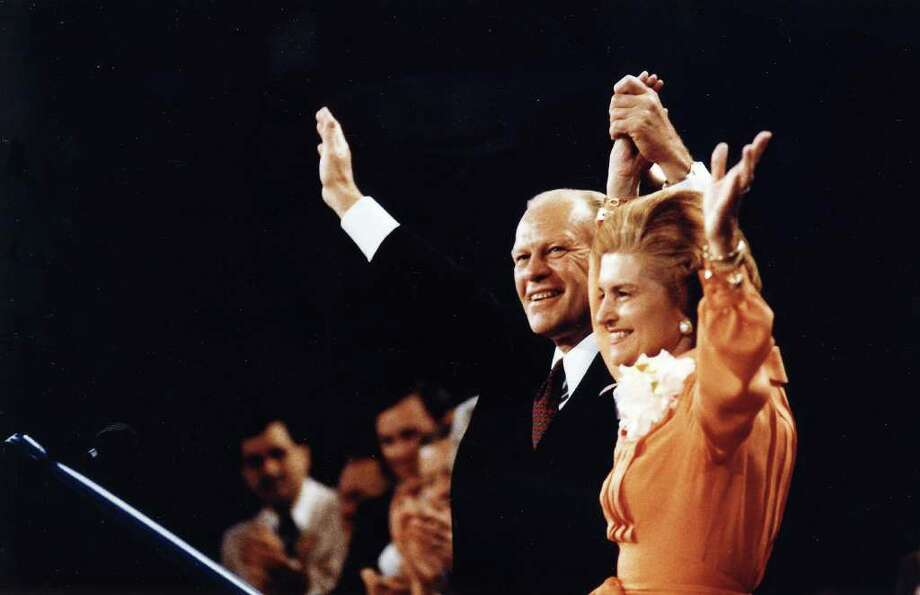 KANSAS CITY, MO -  AUGUST 19, 1976:  President Ford and Betty Ford wave to the crowd at the Republican National Convention in Kansas City, Missouri August 19, 1976. The former President passed away at his home in California December 26, 2006. He was 93.  (Photo by Karl Schumacher/Gerald R. Ford Library via Getty Images) Photo: Handout, Getty Images / Getty Images